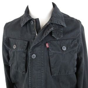 NEW Levis Medium Chore Jacket Coat Black Cotton